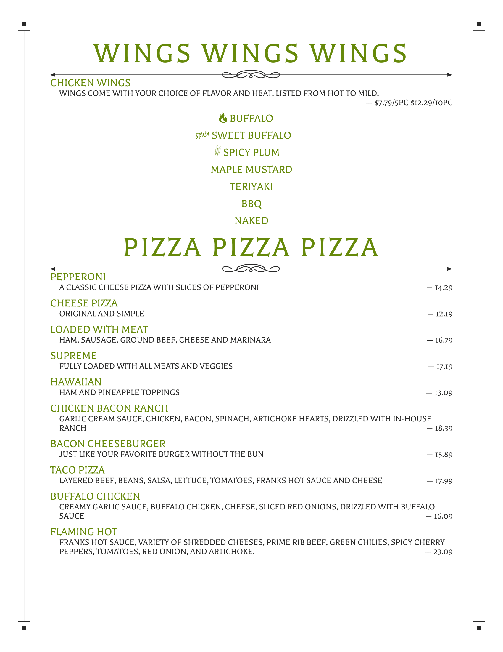 Badlands Menu